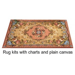 Rug kits charted with plain canvas