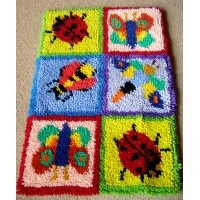 Bug latch hook rug kit